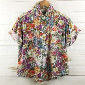 <Vintage> Floral Button Up Top Shirt 90s Grunge